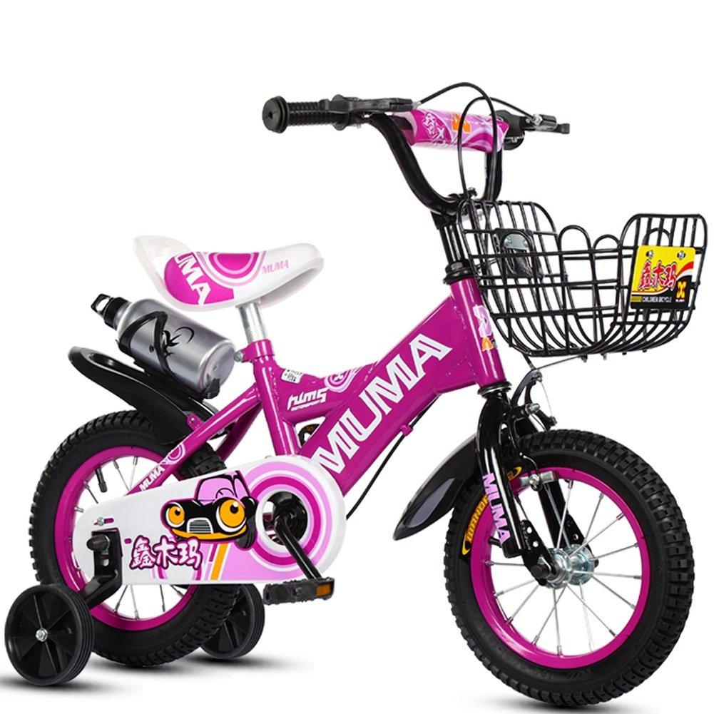 CHS@ 子供の自転車2-4-6歳の6-7-8歳の子供の自転車ベイビーキャリッジの少年の自転車トレーニングホイールとケトル 子ども用自転車 (色 : Purple, サイズ さいず : 16