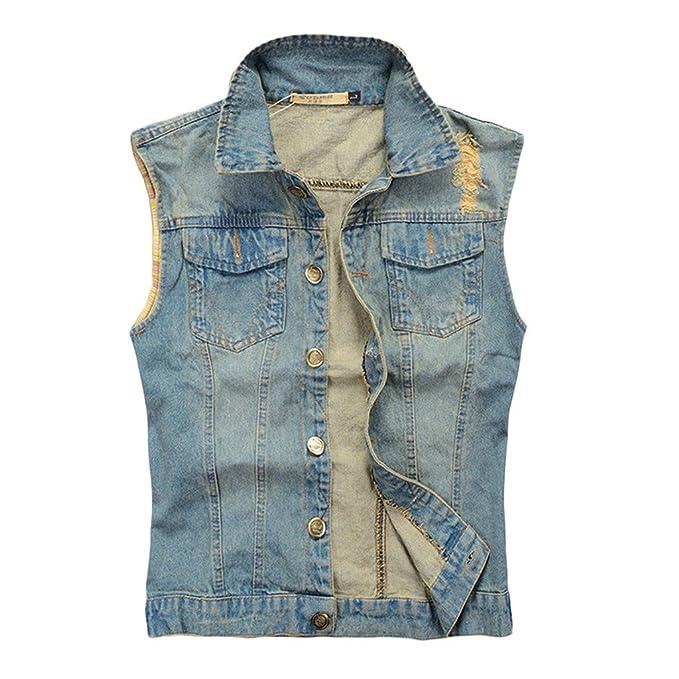 the best attitude 2480e 394bd Linyuan, giacca da uomo smanicata, gilet in denim con collo ...