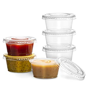 PlastiMade Clear Disposable Plastic Portion Cups with Lids (200 Sets - 2 Oz) - Disposable Condiment Cups, Sauce/Dip/Dressing Cups, Souffle Cups & Jello Shot Cups with Lids   Great Sampling Container