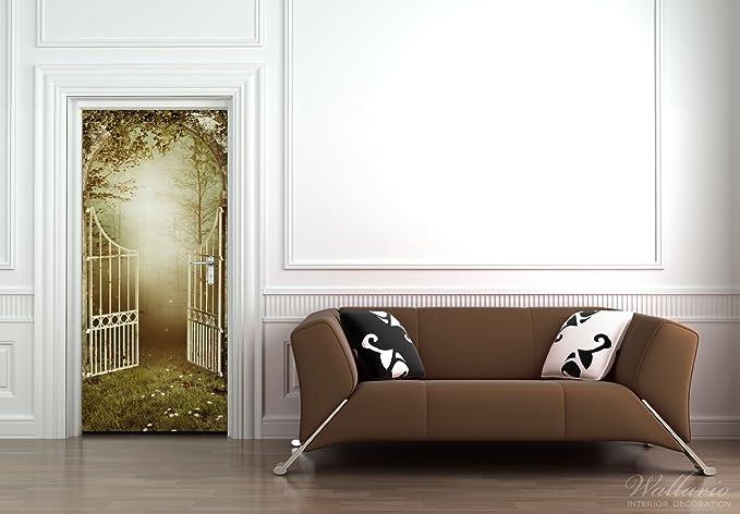 Papel pintado autoadhesivo para puerta con puertas hacia el bosque - 93 x 205 cm color-Calidad: limpiar, colores intensos, no deja hacer: Amazon.es: Juguetes y juegos