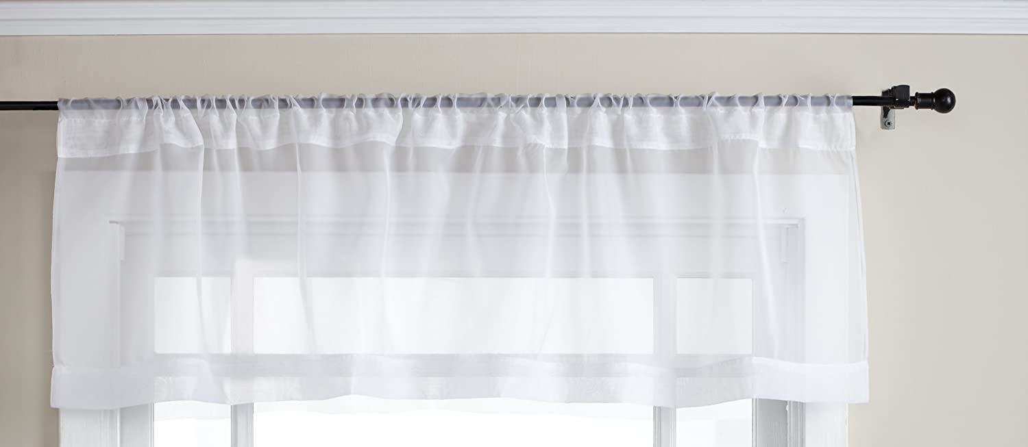 Amazon.com: Stylemaster Elegance 60 By 14 Inch Sheer Voile Valance, White:  Home U0026 Kitchen