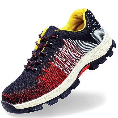 SUADEEX Mujer Hombre Zapatillas de Seguridad Punta de Acero Zapatos de Trabajo Entrenador Unisex Zapatillas de Senderismo con Cordones Ligeras: Amazon.es: ...