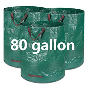 BTSD-home 3 Pack 80 Gallon Garden Bag Reusable Lawn Leaf Bags Heavy Duty Garden Waste Bags Storage Bag