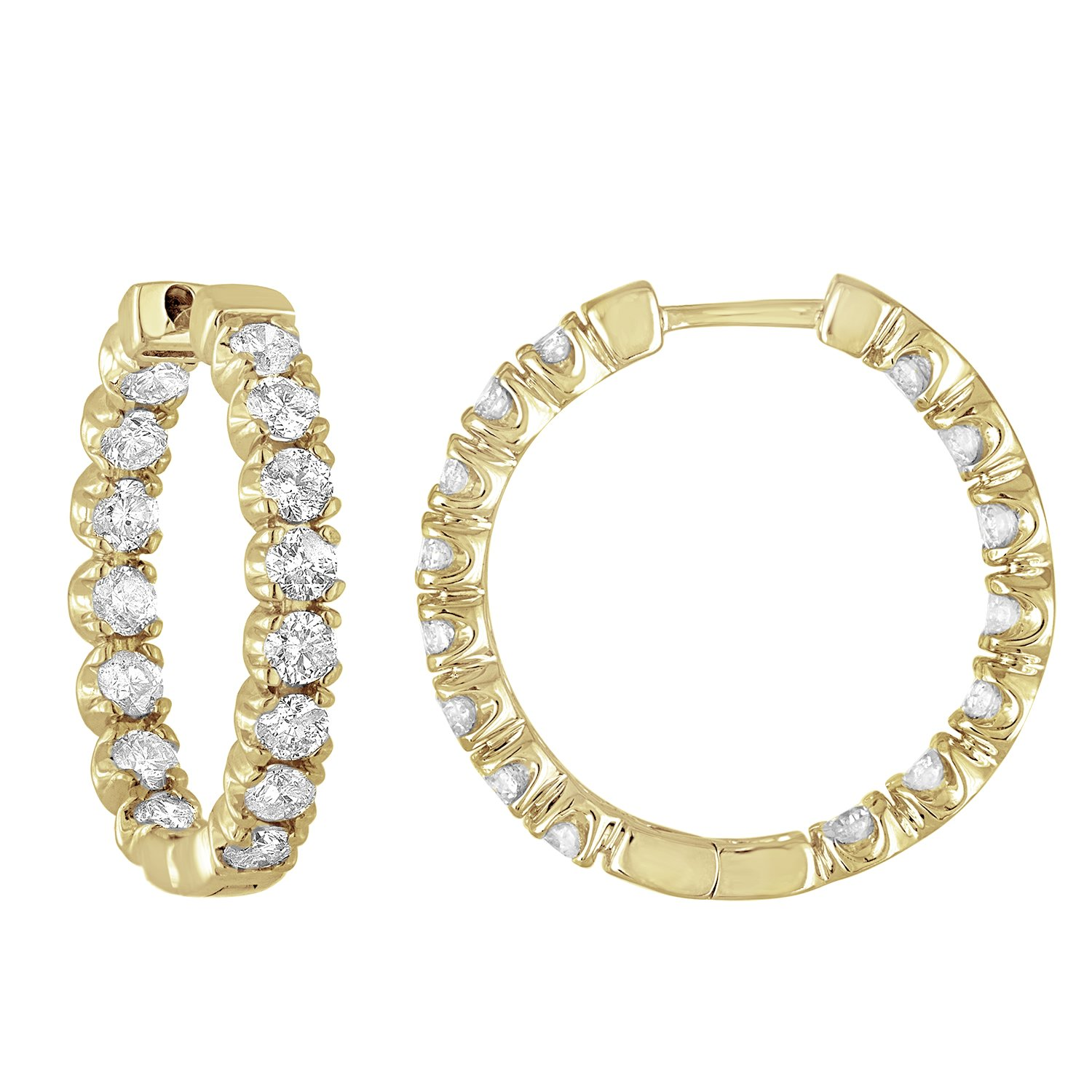 4 cttw Certified Diamond Hoop Earrings 14K Yellow Gold I1-I2 Clarity, G-H Color