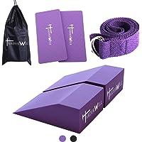 Harderwill 5 in 1 Yoga Foam Wedge Blocks (Pair), Calf Raise Block, Yoga Strap, Yoga Knee Pads Set, Calf Stretcher, Yoga…