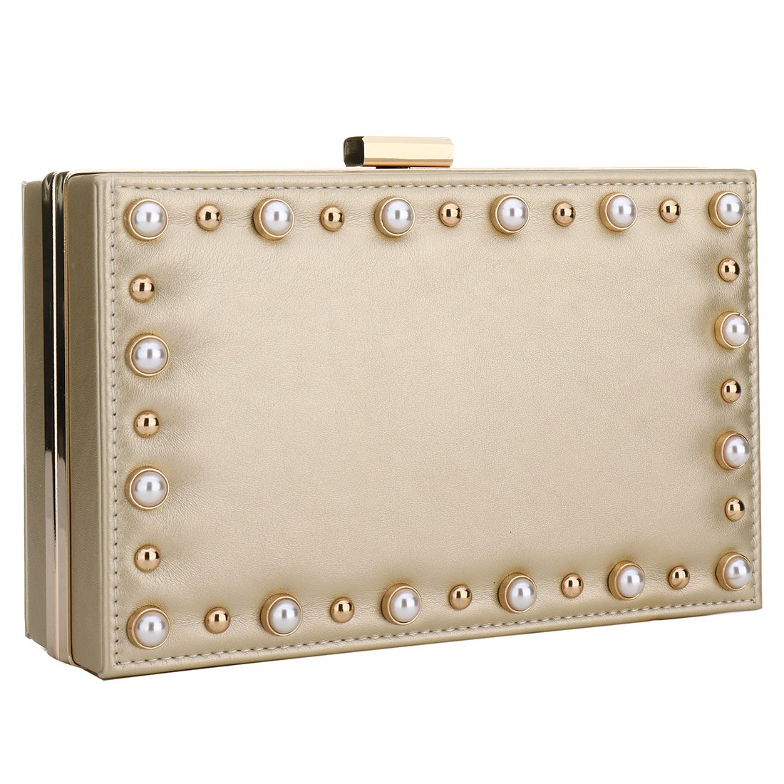 Leather Evening Clutches Purse Pearl Beaded Evening Handbag For Prom Cocktail Wedding Women/Girls (Gold)