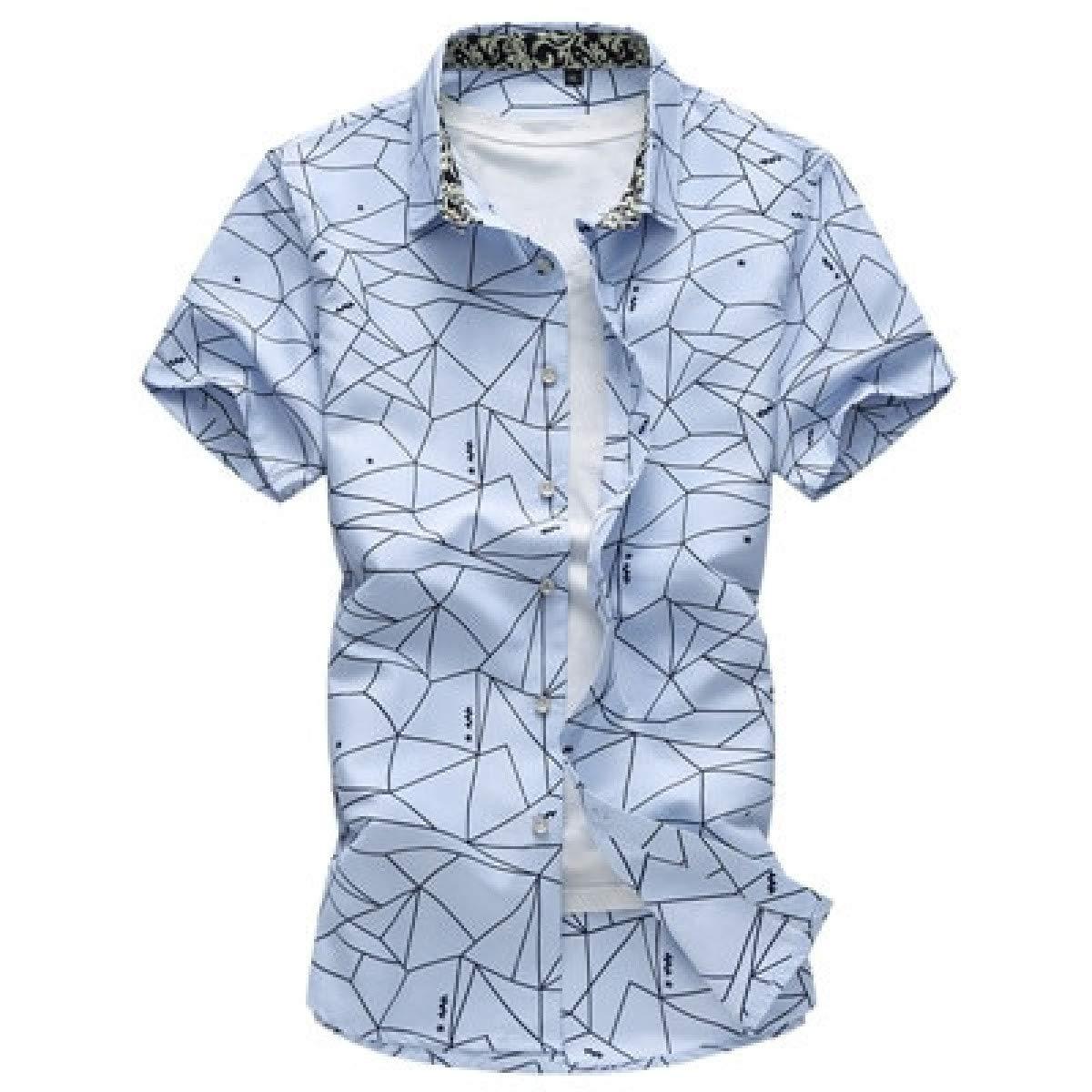 Men Shirts Plaid Printing Male Casual Short Sleeve Shirt Mens Clothing