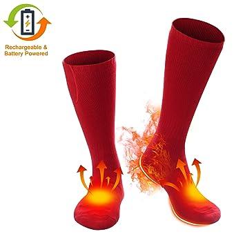 Svpro Calcetines térmicos recargables eléctricos de Funcionan con pilas. Calcetines térmicos cómodos, calcetines para clima frío.