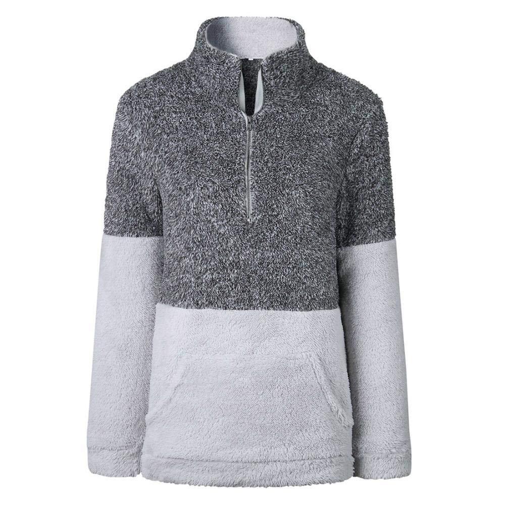 YYW Womens Double-Faced Pile Sherpa Pullover Sweatshirt Zip Neck Fleece Sweatshirt Pullover Coat Pockets Sweatshirt Outwear
