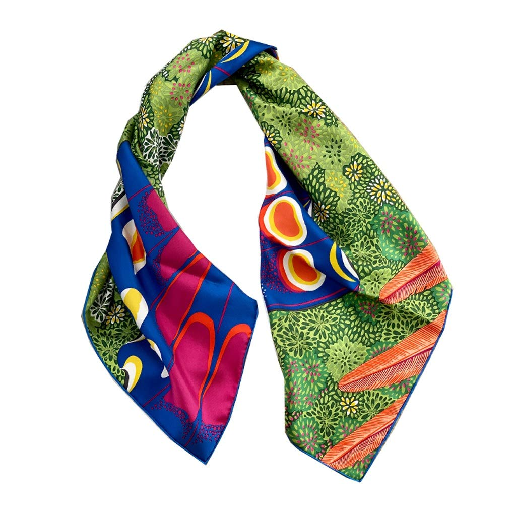 Green Twill Silk Scarf Vintage Style 90cm Geblackus Scarf Decorative Small Scarf Fashion Bag Strap Green Sunscreen Shawl
