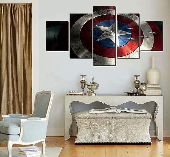 America Captain Shield Wall Decor Modern America Captain Canvas Wall Art