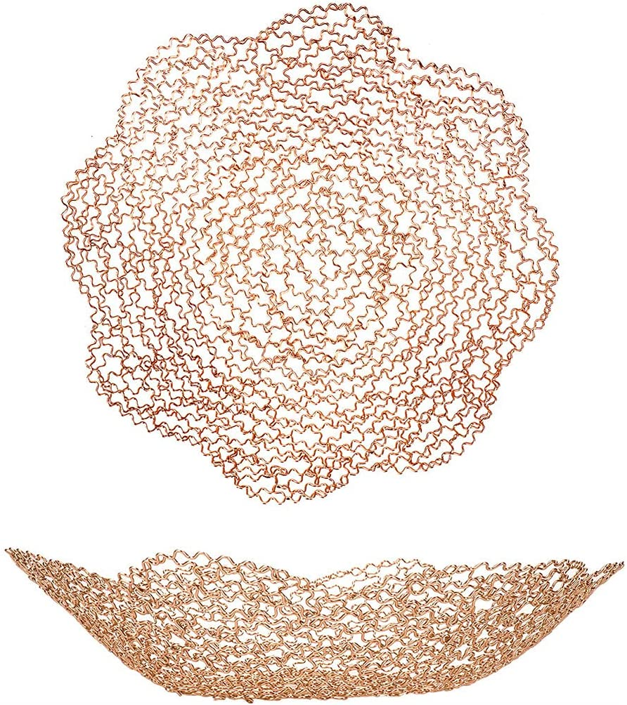Iron Art Gold Decorative Fruit Bowls for Home Decor - Metal Wire Vegetable Fruit Bowl for kitchen counter, Centerpiece Table Decorations, Dining Table and Living Room Decor - Golden