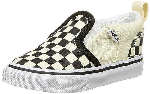 Vans - Asher V, Mocasines para Bebés Que ya se Tienen de pie Bebé-Niños, Blanco (Checkers/Black/Natural), 22 EU: Amazon.es: Zapatos y complementos