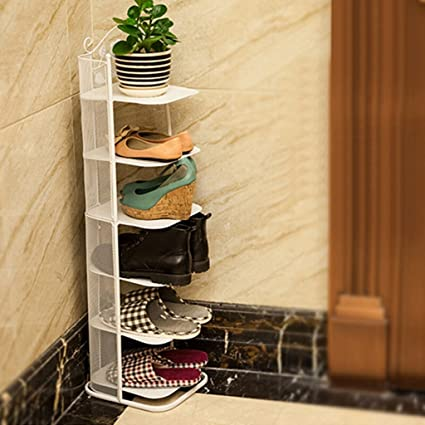 Charmant Shoe Racks Small Narrow Metal Black Storage Stand For Boots Balcony  Entrance Corner Entryway 3 To