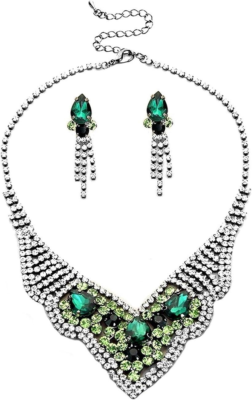 Abi schmuckanthony Balle Soir/ée Mariage Bijoux Parure Collier et boucles doreilles gouttes de cristal clair vert /émeraude