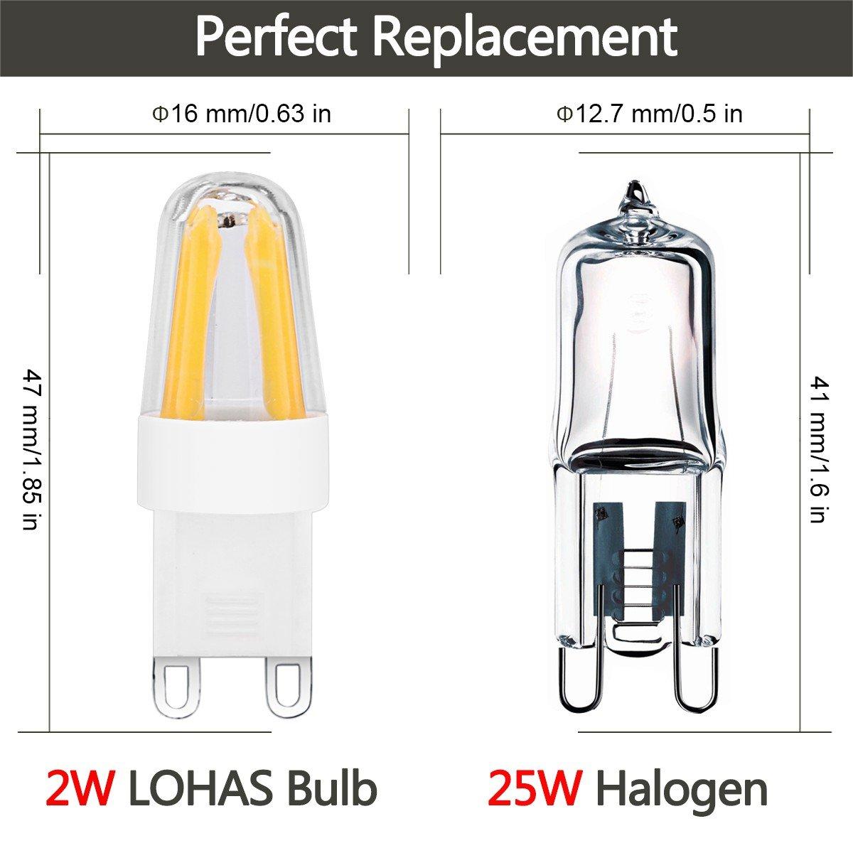 LOHAS® Dimmable G9 LED Bulb 2 Watt,200lm,6000K Day White,25 Watt ...