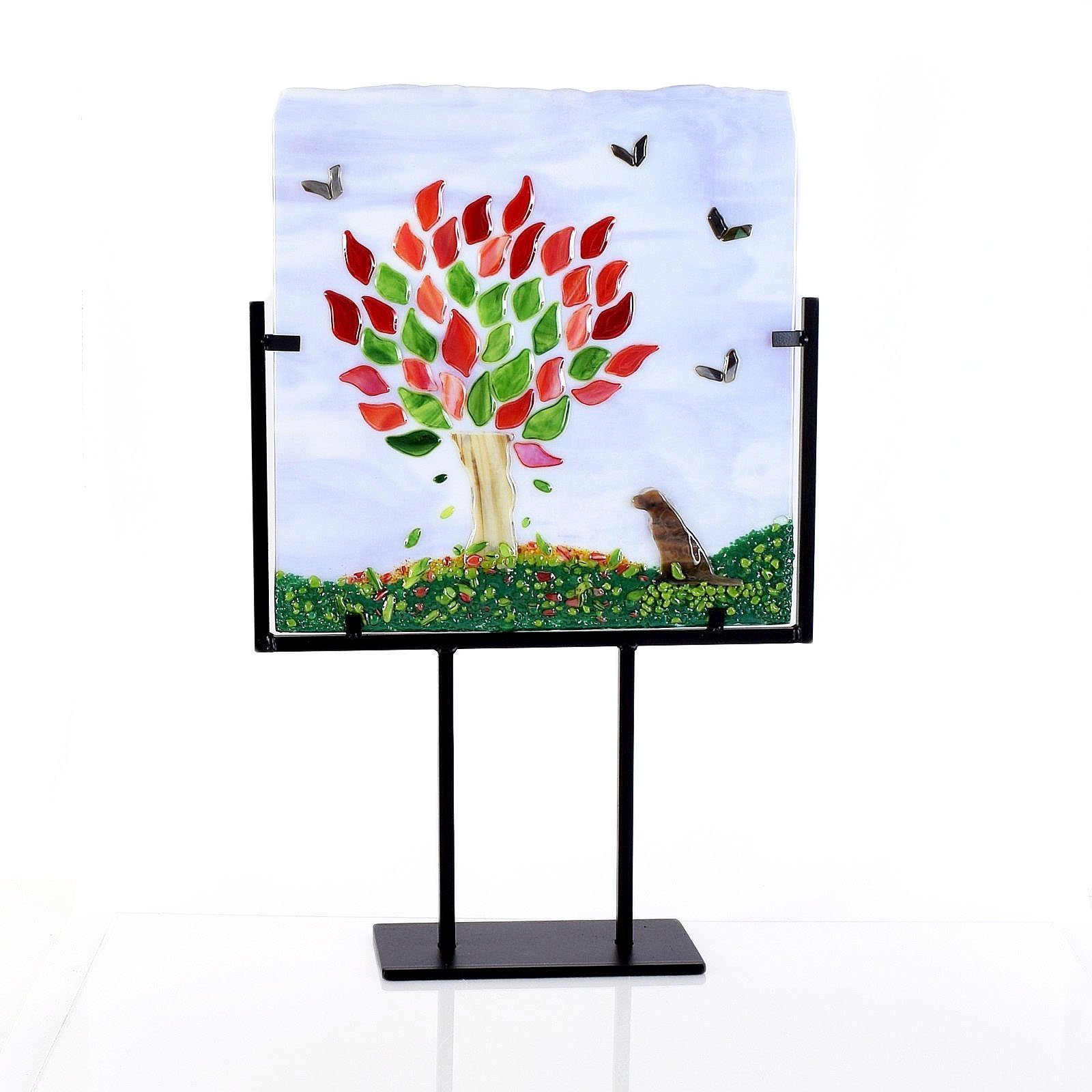 Modern Fused Glass Art Panel Dog and Tree with Stand by The Glass Rainbow