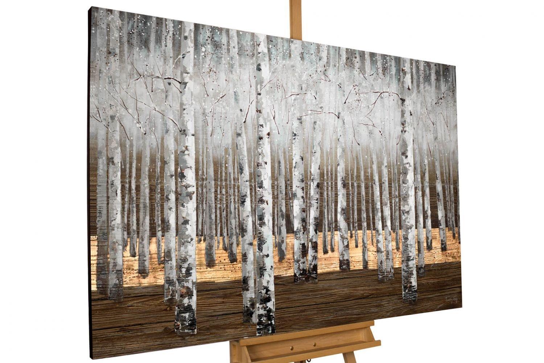 KunstLoft-® Gemälde 'Morgentau im Birkenwald' in 150x100cm     XXL Leinwandbild handgemalt   Weiße Bäume Wald Braun Wohnzimmer   Wandbild-Unikat   Acrylgemälde auf Leinwand   Acrylbild auf Keilrahmen 8122d4