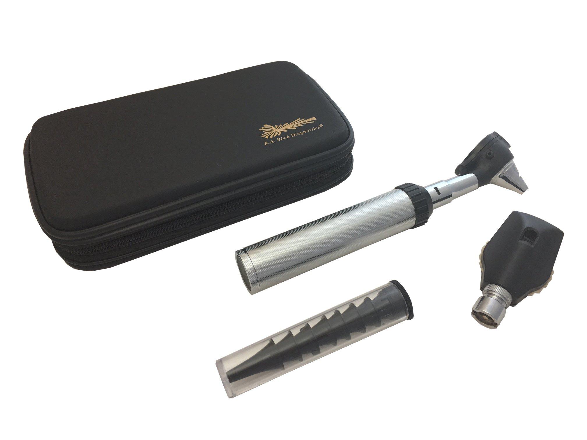 RA Bock Diagnostics Fiberoptic LED Otoscope Kit in Newest Tortoise Shell Case - The Perfect Kit for Medical Students! by RA Bock Diagnostics (Image #1)
