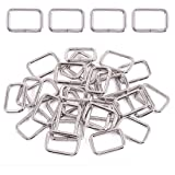 Swpeet 60Pcs 1 Inch / 25mm Sliver Heavy Duty Metal Rectangle Ring, Webbing Belts Buckle Metal Rings for for Belt Bags…