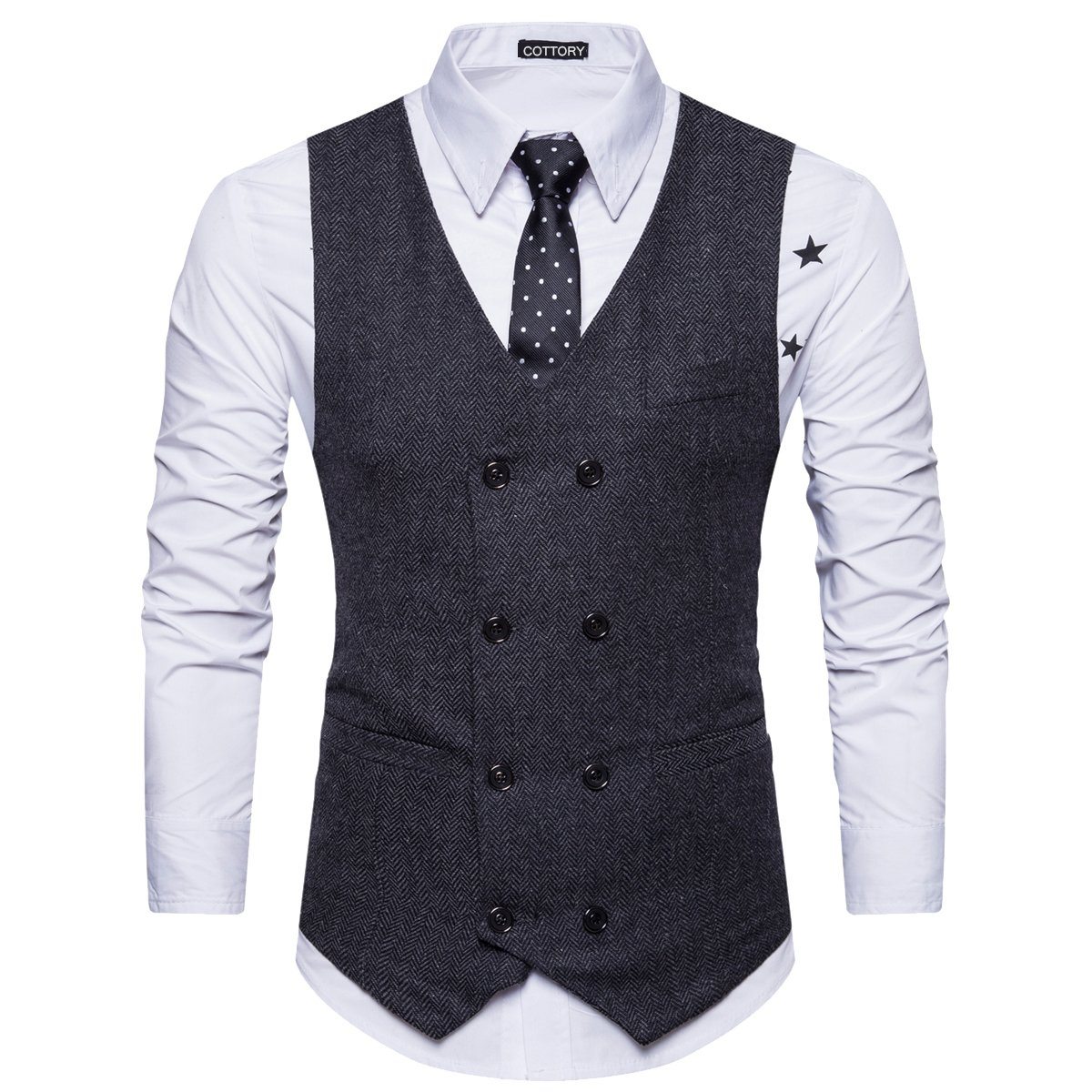Cottory Men's Vintage Slim Fit Double-breasted Solid Suit Vest Black Large