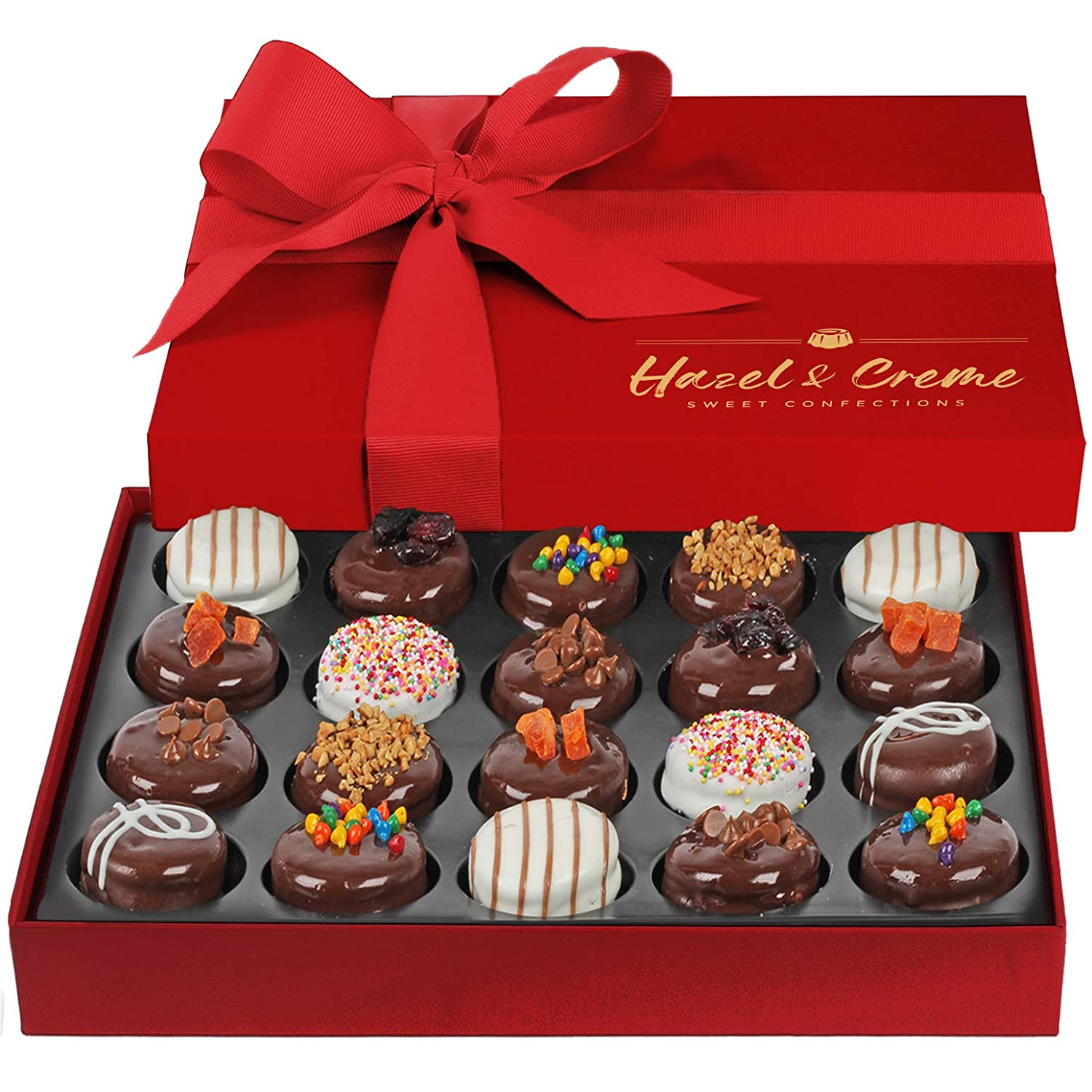 Hazel & Creme Chocolate Covered Cookie Gift - 20 Pcs - Valentines, Anniversary, Thank You, Birthday, Holiday Food Gift - Chocolate Gift Box