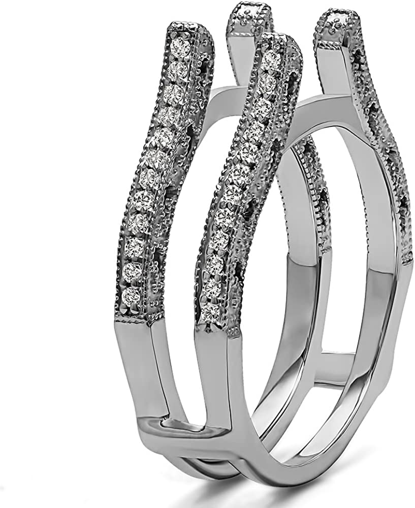 0.36 ct. TwoBirch Sterling Silver Cathedral Vintage Filigree Ring Guard With Black And White Cubic Zirconia