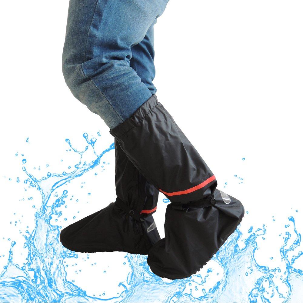 Lange Regenüberschuhe, 2win2buy Wasserdichte Überschuhe Rutschfester Schuhüberzieher Schnee Staub Öl Regen Schutz. Perfekt für Outdoor Aktivitäten Camping Radfahren Bergsteigen, Schwarz Lange Regenüberschuhe