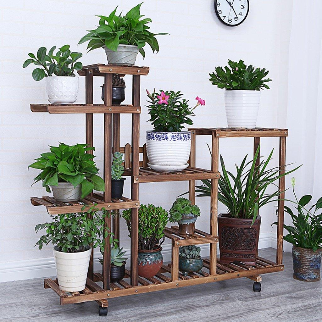 Carbon+round NYDZDM Solid Wood Flower Shelf Indoor Multi-Layer Pot Rack, Balcony Storage Living Room Flower Rack (color   Carbon+Round)