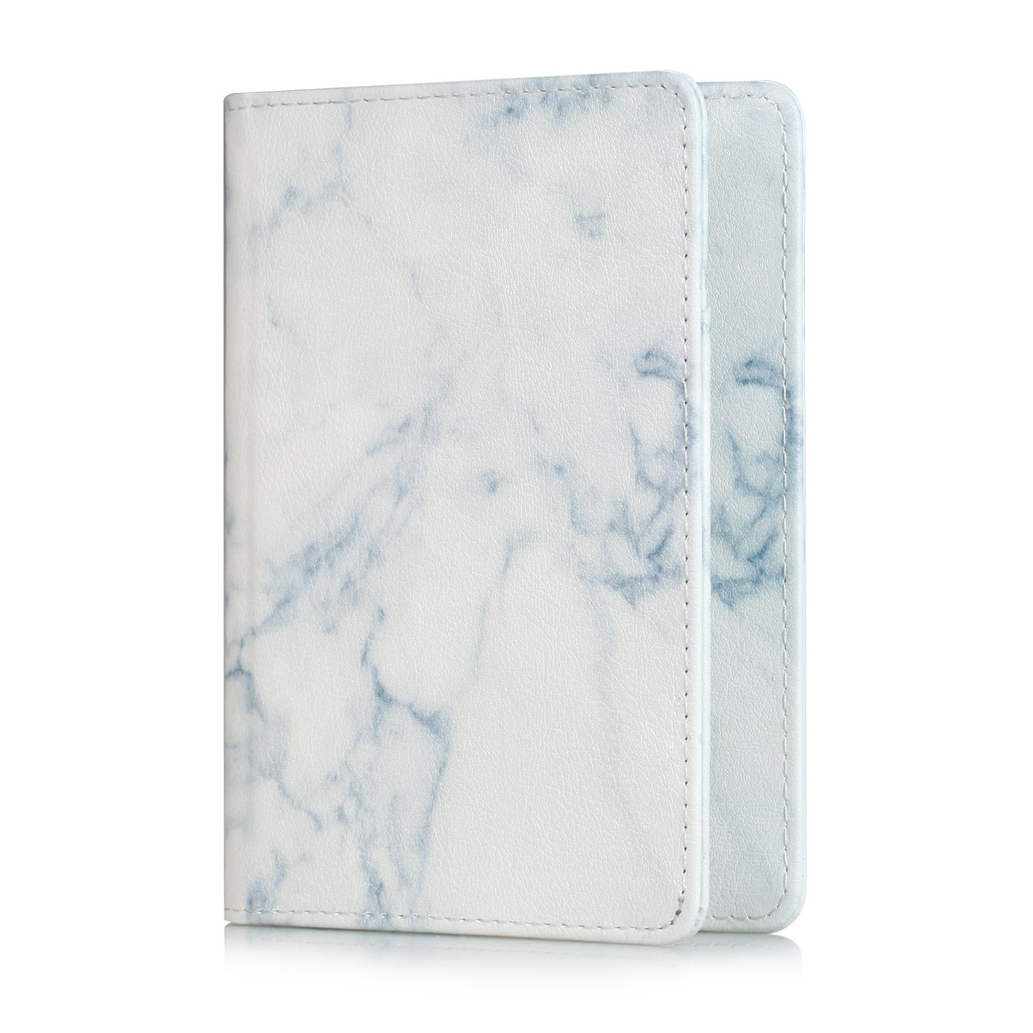 Hansin Passport Holder Travel Wallet, Premium Vegan Leather RFID Blocking Case Cover - Securely Holds Passport, Business Cards, Credit Cards, Boarding Passes, Marble