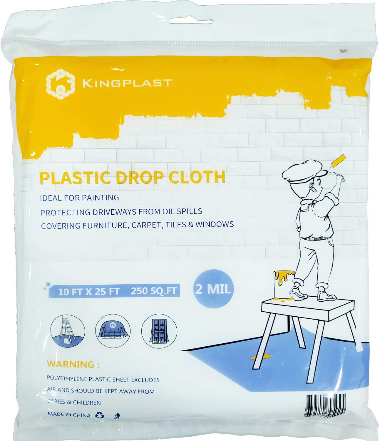 KINGPLAST Plastic Drop Cloth for Painting 10 x 25ft x 2mil Clear Painters Drop Sheet,Waterproof Plastic Painting Tarp for Floor Covering