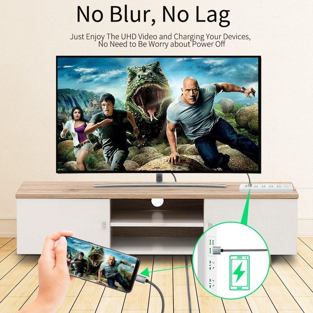 KINGONE Tipo C a HDMI 4K @30Hz Ultra HD 1.8M Convertidor para iMac Macbook Pro 2018//2017 6FT c a hdmi con Cargo Cable USB C a HDMI