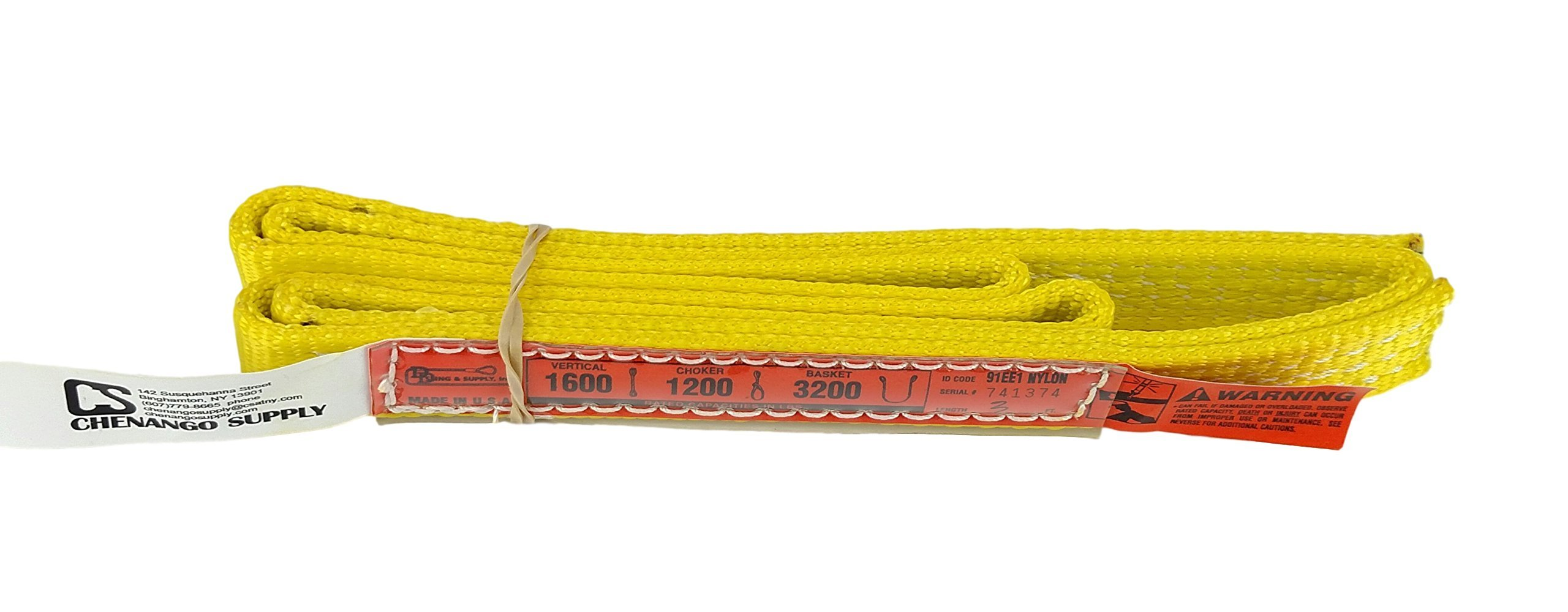 DD Sling. Multiple Lengths! (100% Made in USA) 1'' width, 1 Ply, Nylon Lifting Sling, Eye & Eye, Heavy Duty (900 webbing), 1,600 lbs Vertical, 1,200 Choke, 3,200 Basket (1''x3') by DD Sling & Supply, Inc.