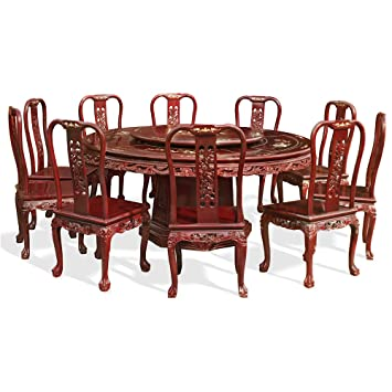 72u0026quot; Mother Of Pearl Inlaid Round Table With 10 Chairs   Cherry