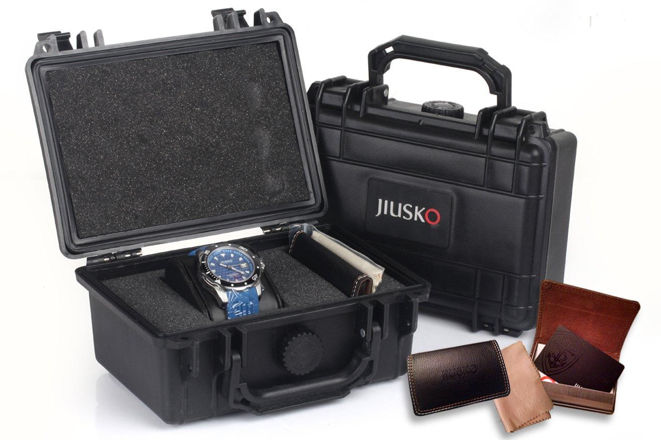 Jiusko Mens 24 Jewel Automatic Deep Dive Watch - 300m Scuba - Sapphire - Day Date - Blue Dial - Blue Rubber Strap - 75LSB08 by JIUSKO