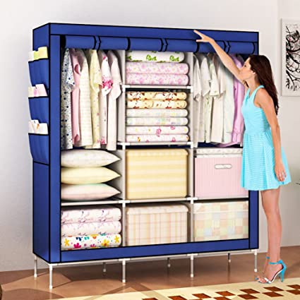 Amanda Home Portable Clothes Closet Non Woven Fabric Wardrobe Storage  Organizer Blue (51u0026quot;