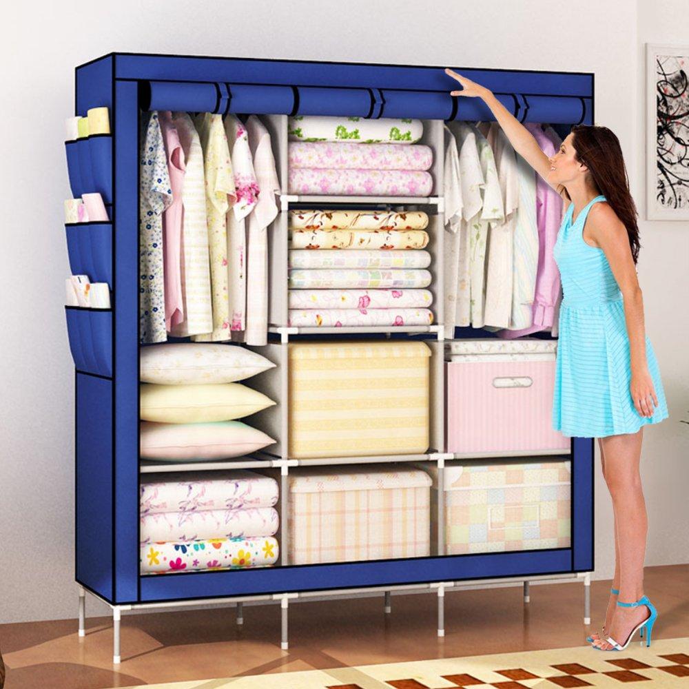 Amanda Home Portable Clothes Closet Non-Woven Fabric Wardrobe Storage Organizer Blue (51'' Length x 18'' Width x 69'')