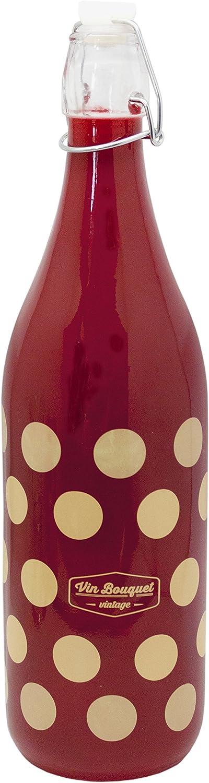 Vin Bouquet FIV 270 - Botella de Cristal Roja, Tapon Basculante 1 Litro, Botella Reutilizable Diseño Vintage