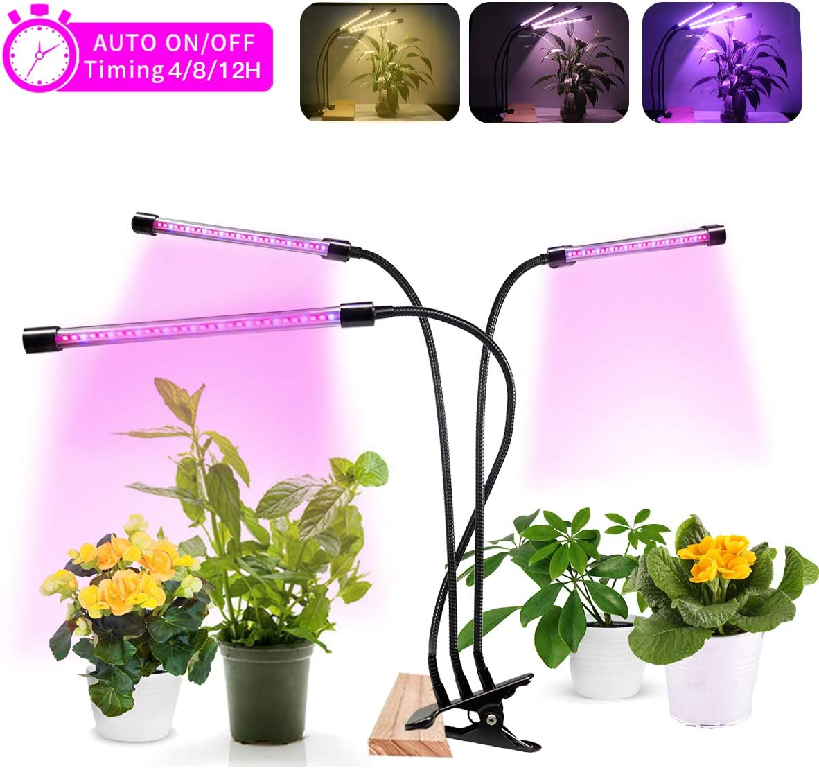 LED Grow Light for Indoor Plants, 75W 90 LED Clip-on Plant Light for Small Plants, Full Spectrum with 3 Modes 5-Level Brightness,Auto On Off Timing 4H 8H 12H