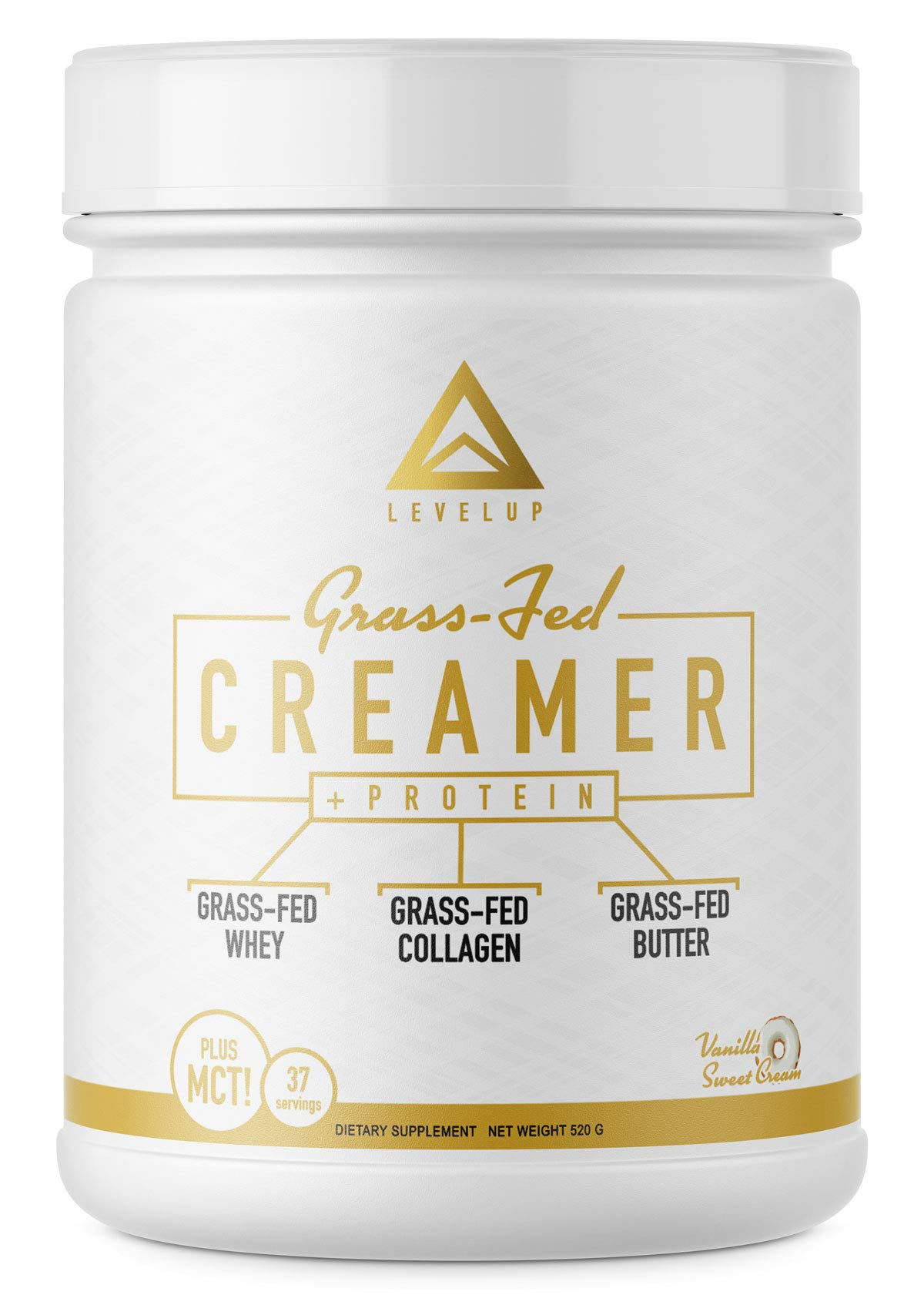 Keto Creamer: [Grass Fed Formula] with Irish Butter | Collagen Protein | Pure C8 MCT Oil | The Ultimate Keto Bomb Creamer | by LevelUp® (Vanilla Sweet Cream)