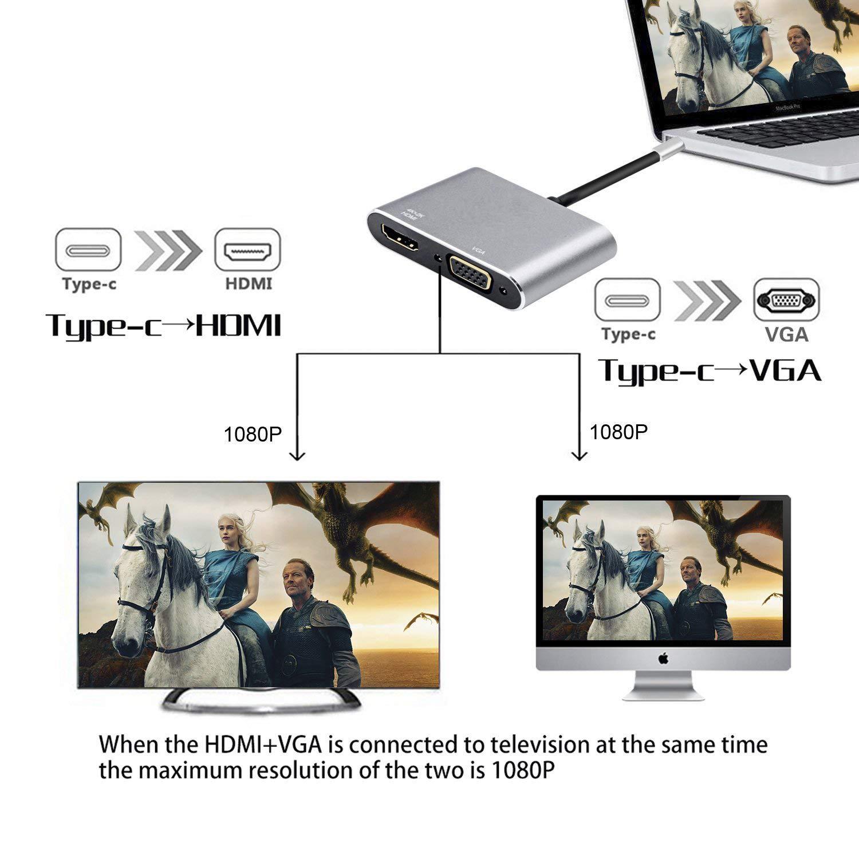 WU-MINGLU USB C HDMI Adapter, Typ C zu HDMI VGA Thunderbolt 3 Konverter Ultra HD 4K Dual Display Multiports USB 3.1 für 2017/2016 MacBook/MacBook Pro/Samsung Galaxy S8 S8 +/Dell XPS/Lenovo 900/Acer