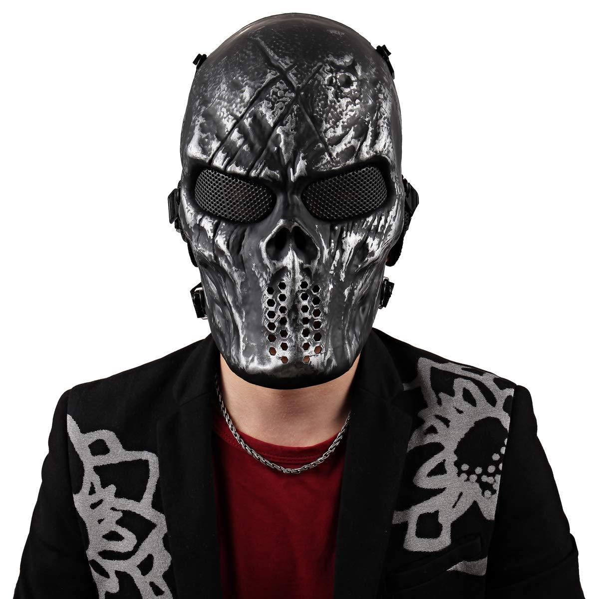 AIRSOFT /& PAINTBALL jeu protection Metal Mesh demi-masque en Noir /& Blanc Crâne