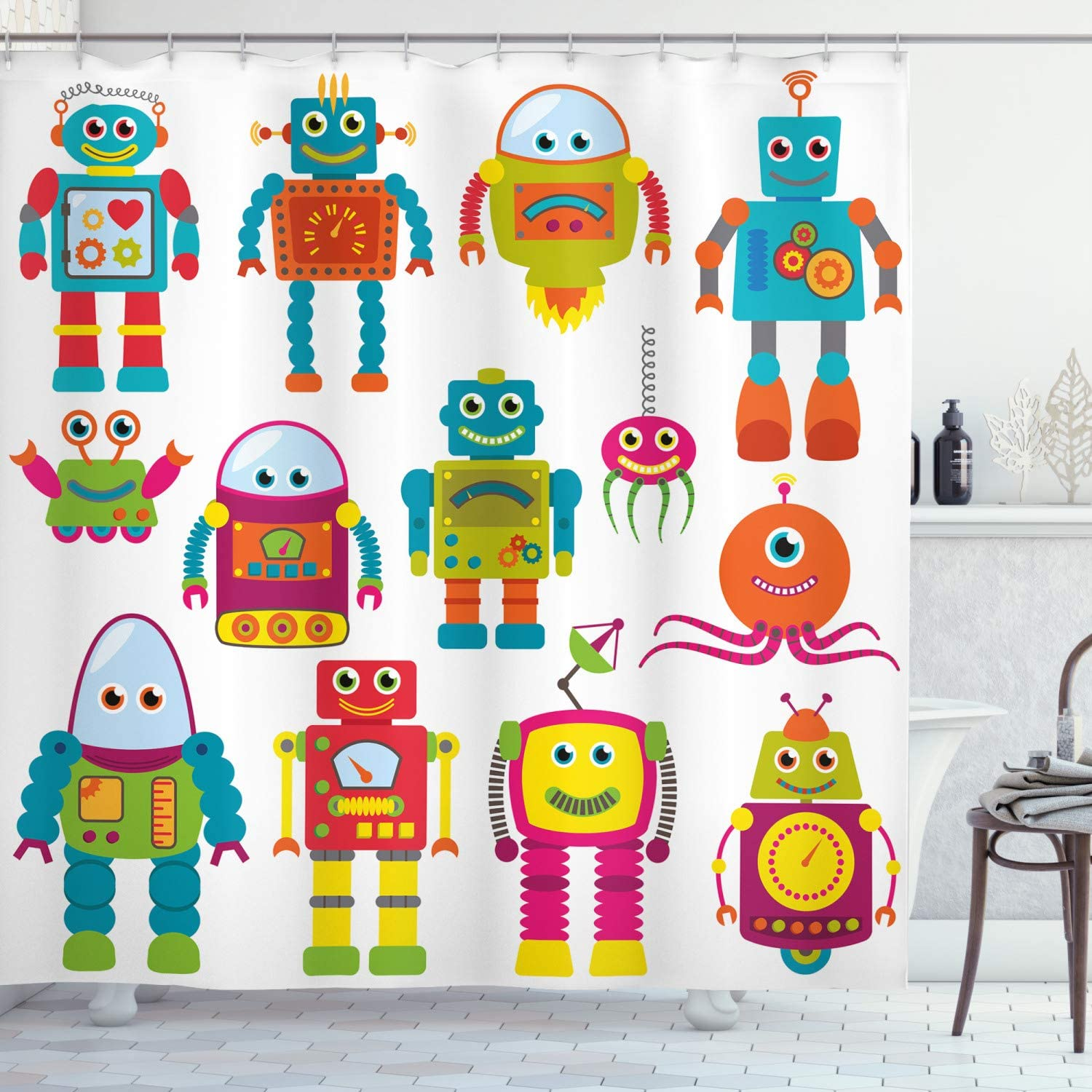 Lunarable Outer Space Shower Curtain, Robot Drawing with Cartoon Future Toys with Smiling Faces Aliens Fun Games, Cloth Fabric Bathroom Decor Set with Hooks, 75