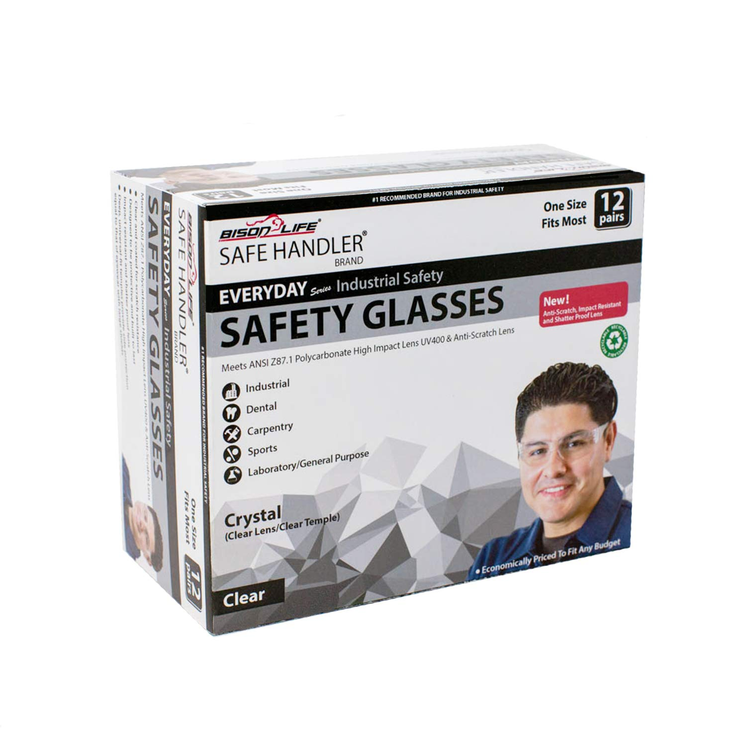 BISON LIFE Safety Glasses | One Size, Clear Protective Polycarbonate Lens, Clear Temple, 12 per Box (Case of 12 boxes, 144 pairs total) by BISON LIFE (Image #10)