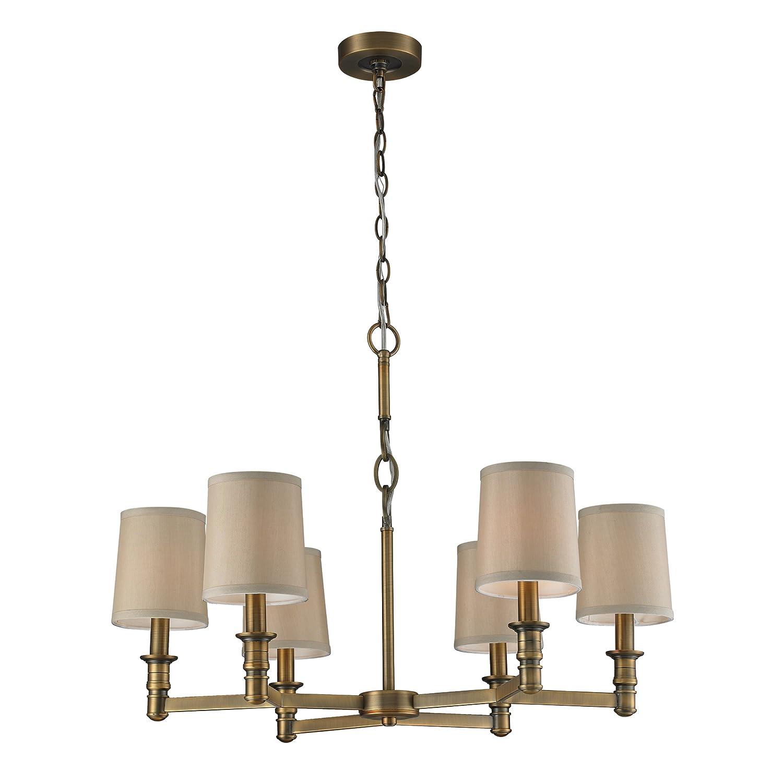 elk lighting  baxter six light chandelier brushed antique brass  amazoncom. elk lighting  baxter six light chandelier brushed antique