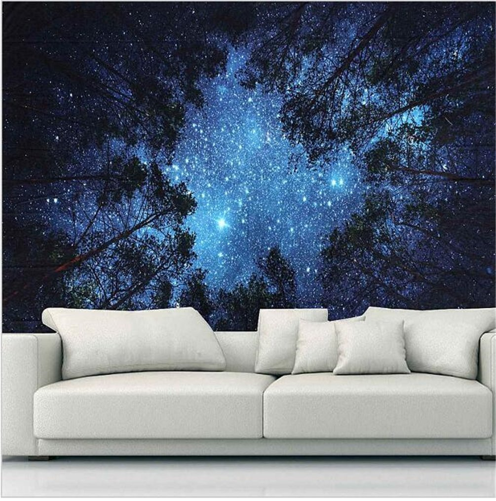Forest Starry Tapestry Wall Tapestry Wall Hanging Galaxy Tapestry Hippie Milky Way Tapestry Sky Tapestry Tree Tapestry Night Sky Tapestry Mandala Bohemian Tapestry for  Bedroom Dorm Decor by Sunm boutique (Image #2)