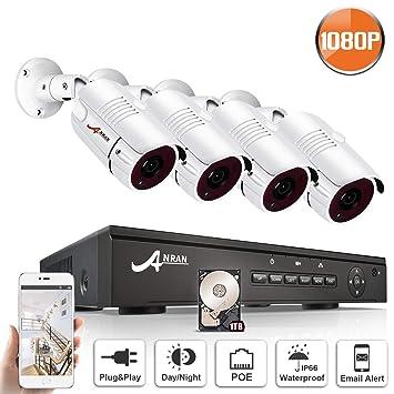 ANRAN 1080P POE Kit Cámaras de Vigilancia 4CH Sistema Cámara de Seguridad POE 4 Cámaras Vigilancia