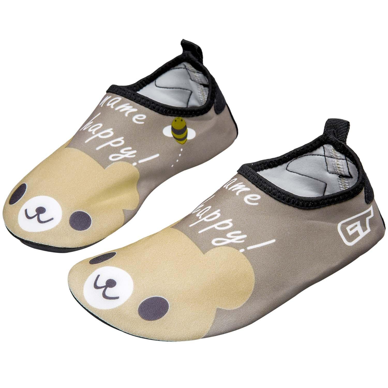 JIANJIANJIAO Girls/Boys Lightweight Water Shoes Soft Barefoot Shoes Quick-Dry Aqua Socks for Toddler Little Kid and Big Kid,Brown,24/25 EU,6.5-7.5 M US Toddler