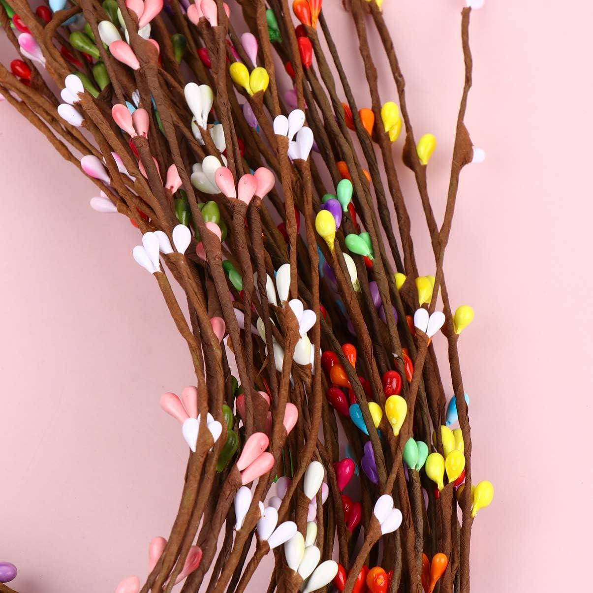 EXCEART Artificial Pip Berries Wreath Making Berry Picks Decorative Berry Rattan Strings DIY Fake Berries 50pcs Assorted Color