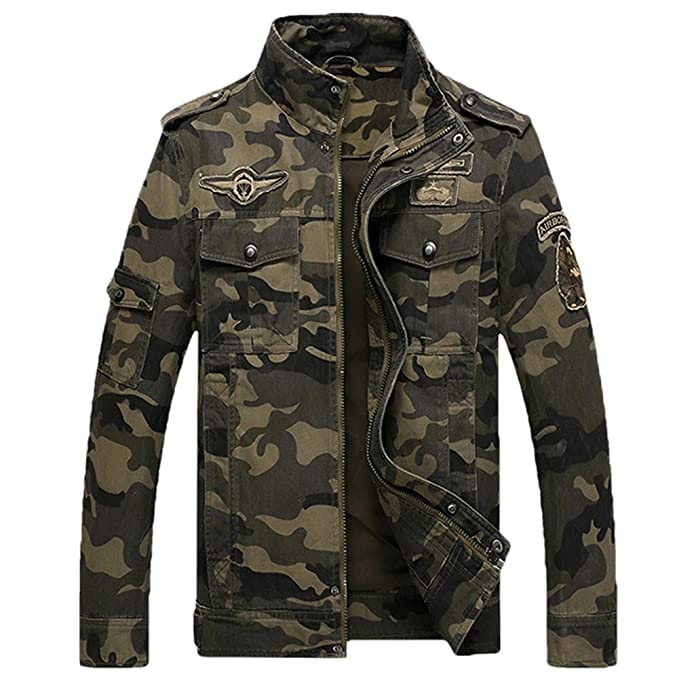 L'asher Men's Camouflage Military Zip Button Jacket Coat